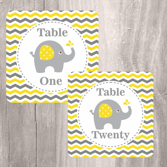 Elephant Baby Shower Printable Table Numbers Instant