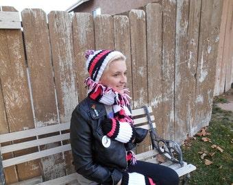 candy stripe winter wear set, handmade accessories, winter fashion, knit crochet, scarf hat mittens