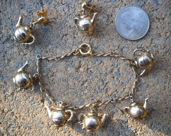 Sweet Silver Teapot Charm Bracelet And Pierced Earrings...Lets Have A cup Of Tea  Shall We?