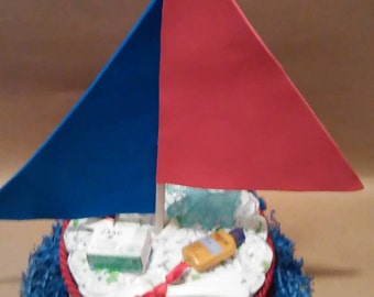 Diaper cake, boat diaper cake, boy diaper cake,boy cake, boat cake,sailboat diaper cake,centerpiece