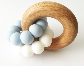 DUO Teether - Baby Blue and White Teether - Silicone and Beech Teething Ring - Silicone Teether - Baby Teether - Wooden Teether