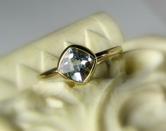 "Moissanite Cushion 14k Gold, ""Forever Brilliant"", Engagement Ring, Made to Order, yellow, white, and rose gold"