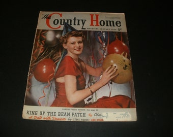 Vintage Country Home Magazine January 1939 - Party Doll Cover, Collectible, Paper Ephemera, Art, Scrapbooking