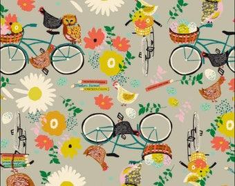 American cotton fabric - Garden Roots - Blend Fabrics designer E. Grubaugh - hens and bike ride owls - by 50cm (110 x)