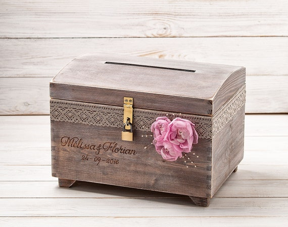 card box for wedding with a lock key slot personalized box. Black Bedroom Furniture Sets. Home Design Ideas