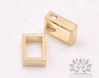 P551-03-G// Gold Plated 6 x 8mm Simple Rectangle Pendant, 2 pcs