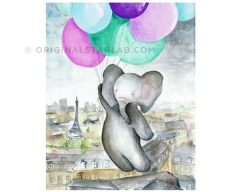 Children's art, balloons + elephant art print, baby elephant, purple teal nursery decor, elephant baby shower gift, wall art kids room.
