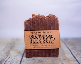 Sandalwood Amber Beer Soap, Handcrafted Natural, Soaps for Men, Father's Day Gift for him, Gifts for Husband, Guys Present, Boyfriend ideas