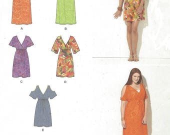 Womens Pullover Mini or Maxi Dress Cold Shoulder Simplicity Sewing Pattern 1375 Size 4 6 8 10 12 14 16 18 20 22 24 26 Bust 29 1/2 to 48 FF