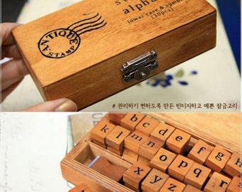 Alphabet Stamp Wooden Box Rubber Vintage Festive DIY Mini inkpad gift set Lace Corner Floral Diary Tag Doilie Scrapbook Card Craft Paper
