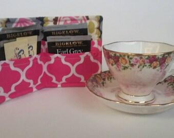 Tea Bag Holder, Tea Bag Wallet ,Tea Wallet,  Tea Bag Storage, Tea Bag Caddy, Travel Tea Bag Holder, Tea Bag Case, Paisley Gray