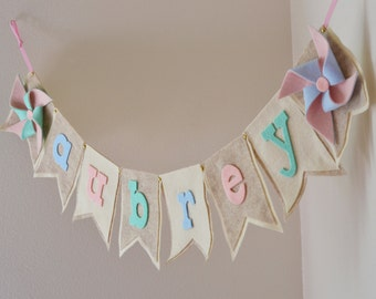 Neutral Pastel Felt  Pinwheel / Pink Mint Blue Felt / Baby Name Banner / Birthday Baby Shower Decor / Custom Colors / Lowercase Letters Only