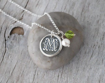 Personalized Initial Necklace with Birthstone Crystal and Pearl - Custom Wax Seal Initial Charm, Sterling Silver Chain