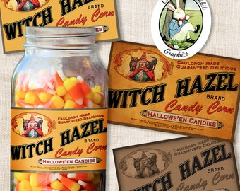 Halloween Candy Corn Label Vintage Style Witch Digital Download Printable Treat Labels Gift Party Favor Tags Clip Art Scrapbook Image