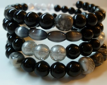 Black, Gray, White Beaded Memory Wire Handmade Bracelet