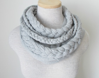 Braided Jersey Scarf - Grey