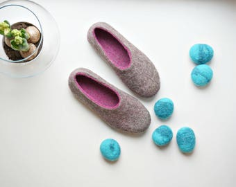 Mom Gift Women Slippers Size US 10, Felt Comfy Wool Clogs, Women House Shoes
