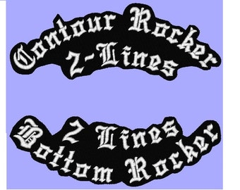 Custom Embroidered Contour Border Laser Cut Name Patch Felt Iron on Single or Top & Bottom Rocker Biker Motorcycle Club MC patches