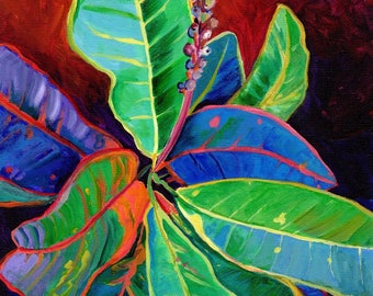 Croton Leaves 8x10 print from Kauai Hawaii tropical green orange blue oahu maui