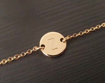 Custom Hand Stamped Initial Bracelet, Gold Silver Letter Disc Bracelet, Personalized Disc Bracelet, Handmade Jewelry, Bridesmaid gift