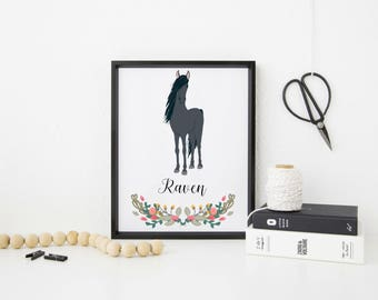 Personalised A4 Horse Print - horse - horse art print - ideal gift for horse lovers - FREE UK POSTAGE!