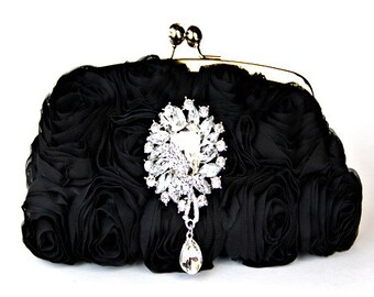 Black Purse - Black Silk Rosette Bridal Clutch with Swarovski crystal embellished accent and polished silver chrome frame