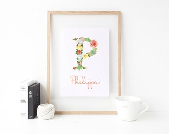 Personalised Initial Print - Floral Letter Wall Art - Name Art - Nursery Wall Art - New Baby Gift - Floral Initial - A4 / A5 Print