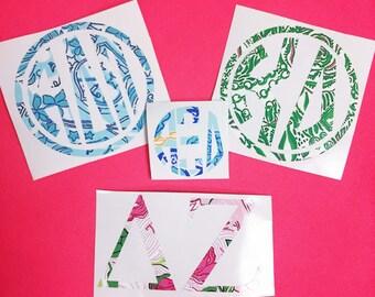 Sorority Letters Lilly Print Inspired Greek Vinyl Decal Delta Zeta Alpha Delta Pi Kappa Kappa Gamma Alpha Xi Delta Kappa Delta