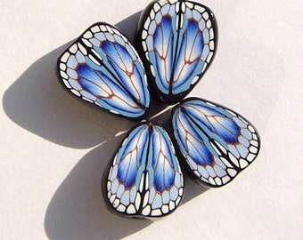 Blue Morph Butterfly Wing Handmade Artisan Polymer Clay Beads