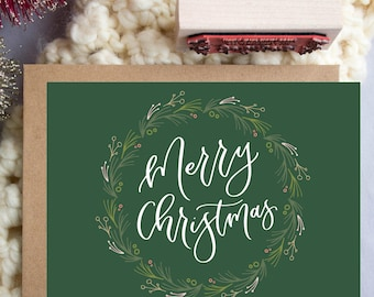 Merry Christmas Wreath A2 Greeting Card, Christmas Note Card, Hand Lettered Note Card