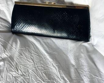 Vintage Black Snakeskin Clutch