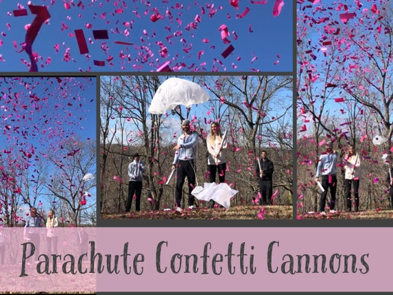 "24"" PARACHUTE & CONFETTI CANNON Gender Reveal Parachute Cannons and Confetti Cannons! *New* Gender Reveal Idea! Ships Same Day!"