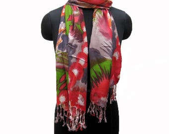 Multicolored scarf/ abstract print scarf/ fashion  scarf / multicolored scarf/ red scarf/ / gift scarf/ gift ideas.