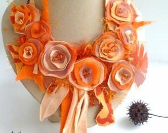 Orange floral fiber art bib necklace, statement, textile art featured In Autumn 2011 Belle Armoire Jewelry Magazine, Morning beauty XV