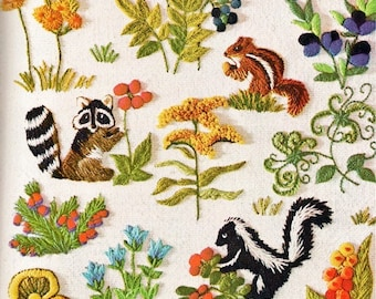 PDF Vintage Crewel Embroidery Pattern Woodland Animals Berries Flower Blossoms Needlepoint Forest Friends Stitchery Instant Digital Download