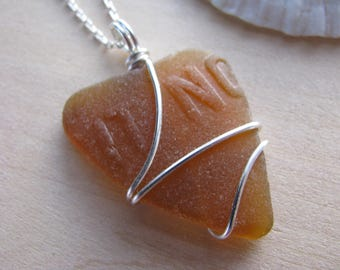 "Amber Sea Glass Heart ""IT NO"" Beach Glass Pendant Valentines Day Gift SeaGlass Brown Real Beach Glass Wire Wrapped Seaglass Real Natural"