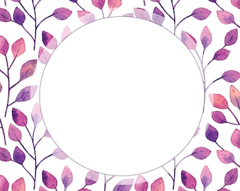 Border - Watercolor Florals - 8 x 8 inch - Instant Download - Printable