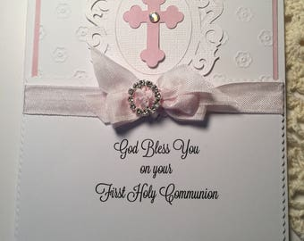 First Holy Communion Card..Pink and White Fold Over Card.. Communion Card