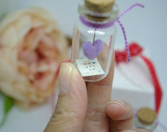 Mother's day gift, Polymer clay heart, Heart in glass bottle, Miniature, Message in a glass bottle, I love you,