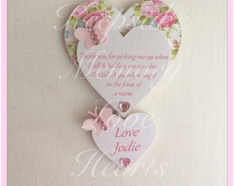 Gift for nurse personalised wooden heart magnet
