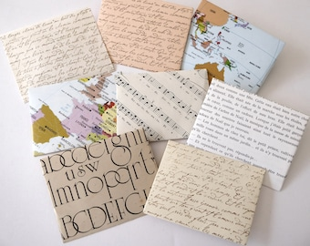 8 handmade envelopes for journals made from vintage paper, junk journal supplies