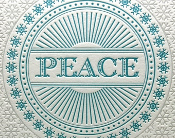 Letterpress Holiday Card Silver and Blue Peace Snowflake Winter
