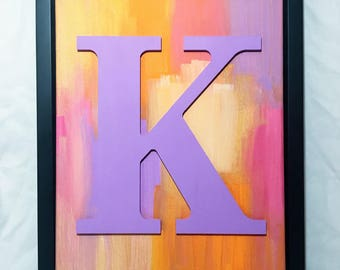 Hand Painted Wood Letter in Black Frame