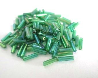 AB 6 mm (rt7) green glass tube seed beads 10 grams