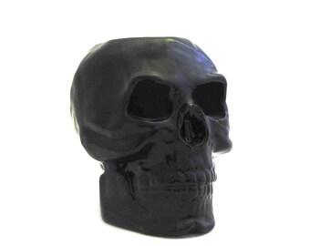 Ceramic Black Skull Toothbrush or Makeup Brush Holder Flower Pot Planter Pencil or Tool Caddy Organizer for Work Station Desk Table Vanity