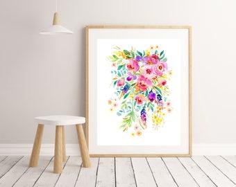Flower Painting Art Print, watercolour bright bunch of flowers, home office decor, wall art, nursery art, roses, spring poster print, Art