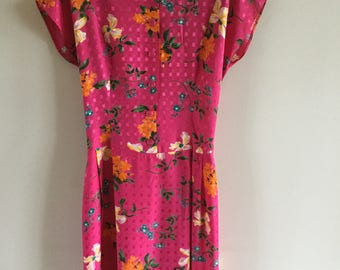 Vintage 80s Romantic Summer Fucsia Yellow Blue Floral Printed Dress Midi Dress Size L