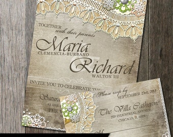 Rustic Wedding Invitation & RSVP-DIY wedding invite, RSVP with lace and vintage elements rustic background, Wedding Stationery, Lace