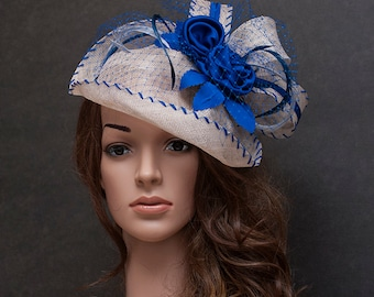 Light grey and cobalt blue fascinator hat for your special occasions-Last hat on SALE - 50%