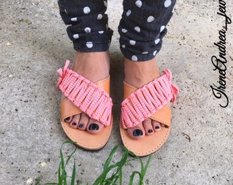Criss Cross Sandals, Greek Sandals, Leather Sandals, Greek Leather Sandals, Coral Sandals, Coral Fabric Cord, Bows, Made in Greece, Sandals